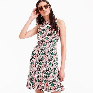 flowy floral neon fit and flare J Crew dress